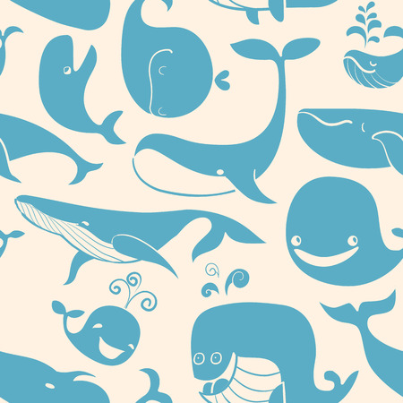 Whale. Seamless background.  Vector