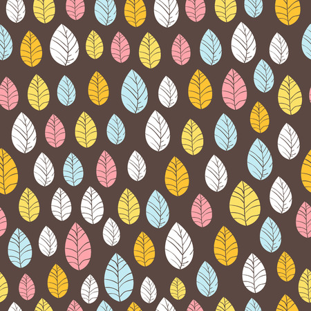 Leaves Seamless Background on dark  Hand drawn vector illustration  Seamless pattern can be used for wallpaper, pattern fills, web page background, surface textures