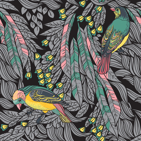 Birds with feathers and flowers  Seamless Background  Hand drawn vector illustration  Seamless pattern can be used for wallpaper, pattern fills, web page background, surface textures Vector