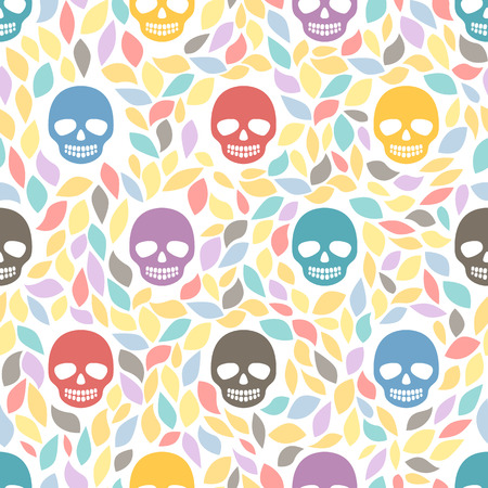 Funny sugar skulls  Seamless Background  Hand drawn vector illustration  Seamless pattern can be used for wallpaper, pattern fills, web page background, surface textures Vector