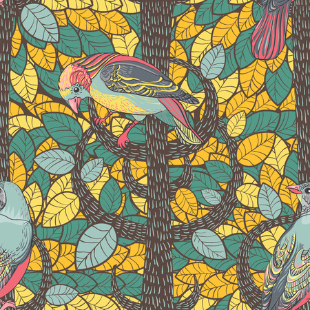 painted the cover illustration: Birds in the autumn wood  Seamless Background  Hand drawn vector illustration  Seamless pattern can be used for wallpaper, pattern fills, web page background, surface textures