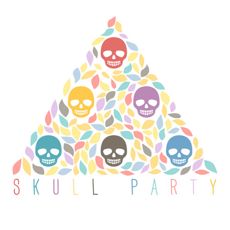 Funny sugar skulls  Hand drawn vector illustration  You can create design of greeting cards, invitations, seasonal cards, gift tags and many other things