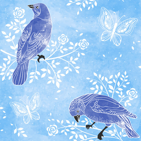 Birds and flowers on a water color background  Hand drawn vector illustration  Seamless pattern can be used for wallpaper, pattern fills, web page background, surface textures Vector