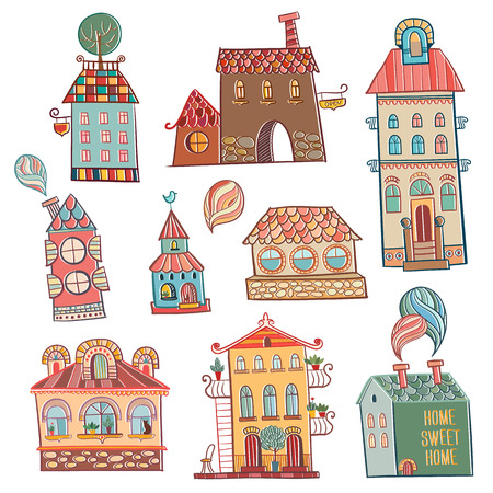 set of outline hand drawn buildings in vintage style.  Vector