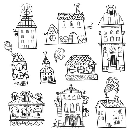set of outline hand drawn buildings.  Vector