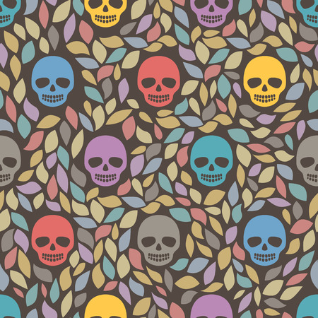 Funny sugar skulls. Seamless Background.  Seamless pattern can be used for wallpaper, pattern fills, web page background, surface textures Vector