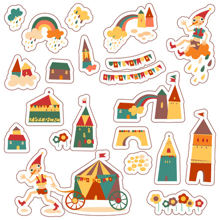 Vintage colorful houses. Set of childrens stickers. Houses, clouds, rainbow, flowers, child, city. Hand drawn  Vector