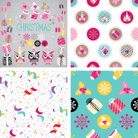Christmas elements set for festive design. Seamless background. Gift, Snowflake, Serpentine, Ostrolist, Christmas sock, Star, Cute Owl Vector