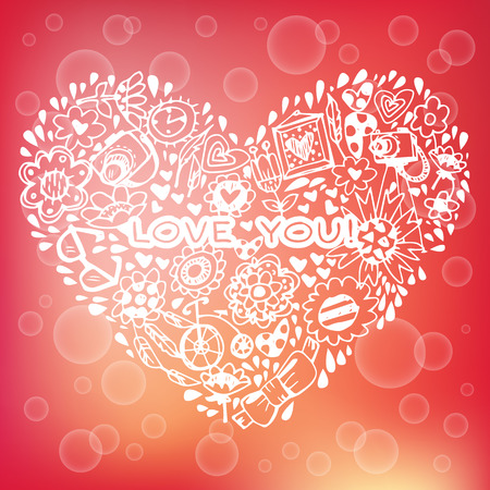 Heart love pattern. Template for design romantic greeting card, wedding invitation, Valentines day background Vector