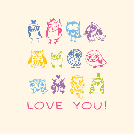 Owls Love card. Template for design cartoon greeting card, Valentines day background Vector