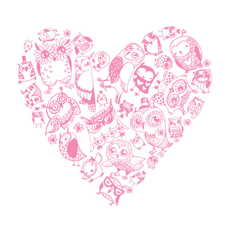 Heart Owls pattern. Template for design romantic greeting card, party invitation, Valentines day background Vector
