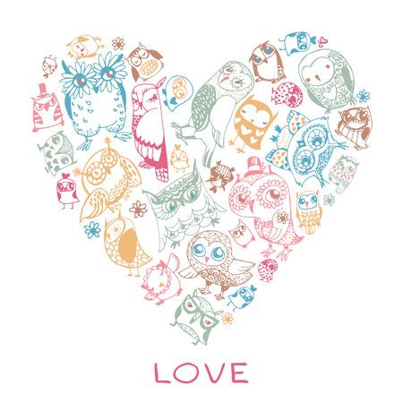 Herz Liebe Muster Mit Eulen. Design-Vorlage Für Romantische ...