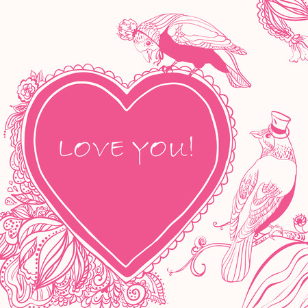 happy couple white background: Love Heart Card with Birds and Flowers. can be used as creating card, wedding invitation, birthday, valentines day and other holiday and summer or spring background. Illustration