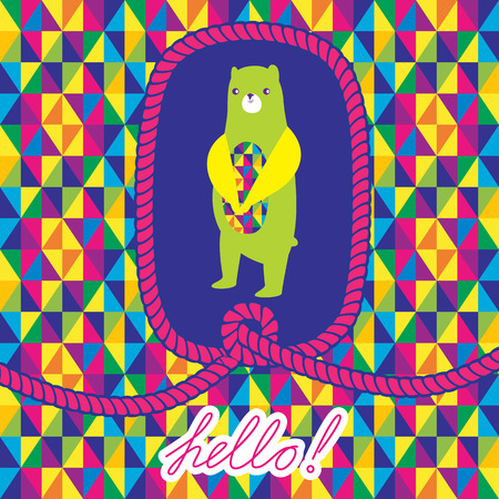 Greeting card 'Hello' with bear and rope frame. Abstract Triangle Geometrical seamless background.  Vector