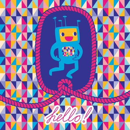Greeting card 'Hello' with robot and rope frame. Abstract Triangle Geometrical seamless background.  Vector