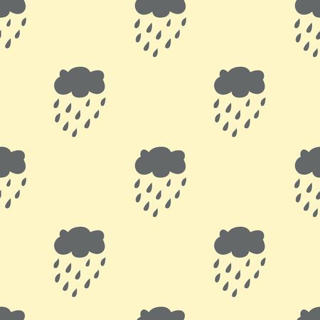 Cloud Rain seamless pattern. Light background. Monochrome. Vector illustration. Vector
