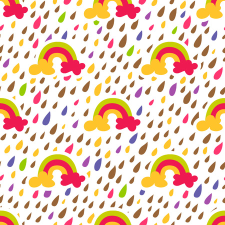 Rainbow Drop seamless pattern. Light background. Vector illustration.