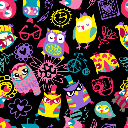 Owl seamless background. Hand drawn vector illustration.