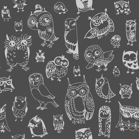 Owl seamless background. Monochrome. Hand drawn vector illustration.