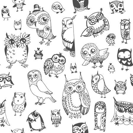 フクロウのシームレスな背景。モノクロ。手描きイラスト ベクトル。