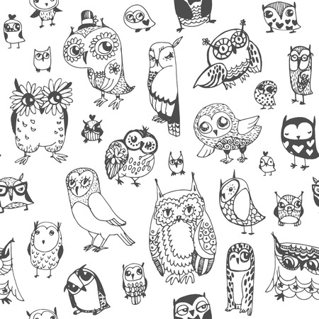 animal print: Owl seamless background. Monochrome. Hand drawn vector illustration.
