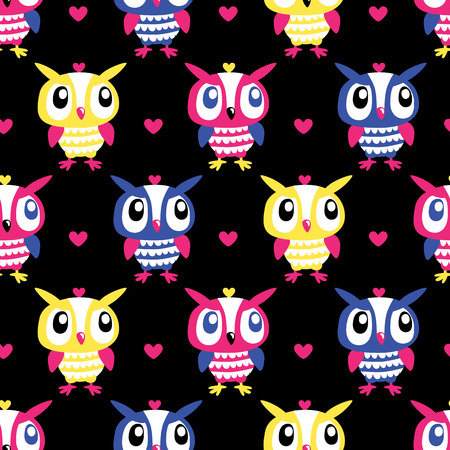 Owl Heart Seamless background