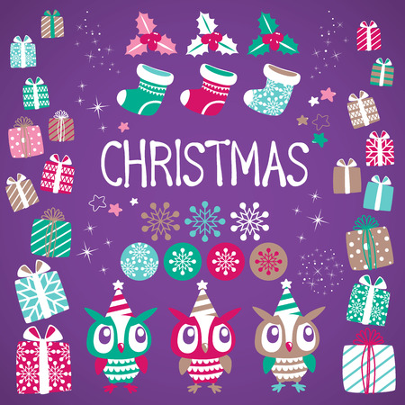 Christmas vector elements set for festive design. Gift, Snowflake, Ostrolist, Christmas sock, Star, Cute Owl Vector