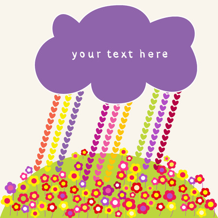 hearts rain and clouds speech bubbles. Vector