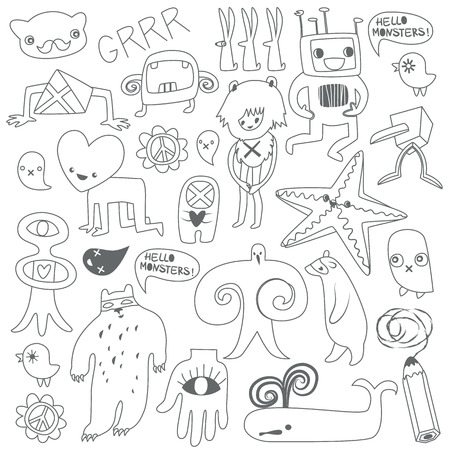 Cute monsters and freaks Vector