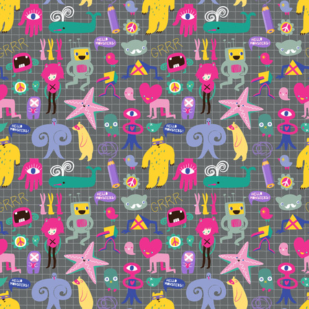 freaks: Cute monsters and freaks. Seamless background.