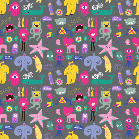 Cute monsters and freaks. Seamless background.   Vector