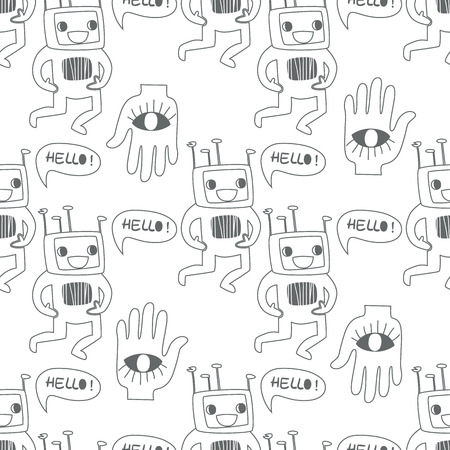 Seamless background. Monsters and freaks