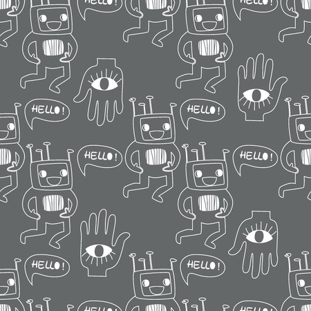 Seamless background. Monsters and freaks. Vector