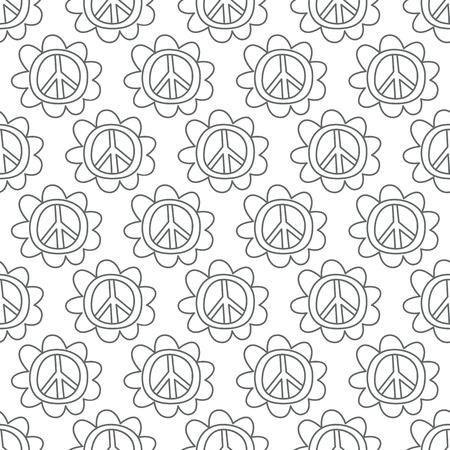 Doodle Peace Sign. Black-white. Vector illustration