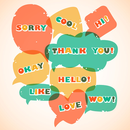 Retro style speech bubbles.   Vector