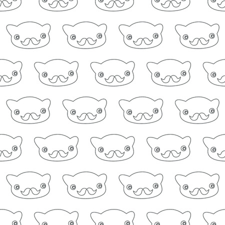 Bear-hipster. Black-white. Vector illustration Vector