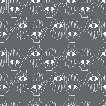 Hand with eye. Black-white. Vector illustration Vector