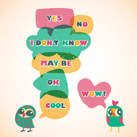 socialize: Humor speech bubbles with owls.   Illustration