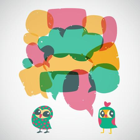 Cartoon speech bubbles with owls.   Vector