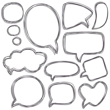dialog balloon: Doodle speech bubbles.