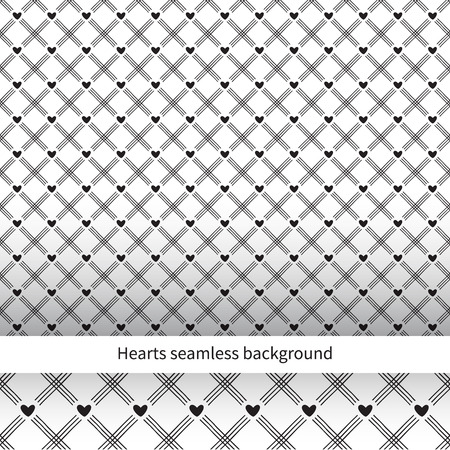 Heart seamless diagonal background. Vector