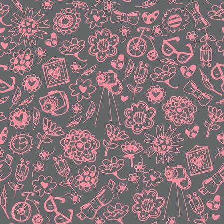 Fashionable things seamless background. Heart, flower, bike, camera, glasses, frame. Hand drawn vector illustration. Illustration
