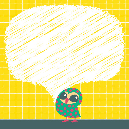 socialize: Doodle speech bubbles with owls. Vector illustration.