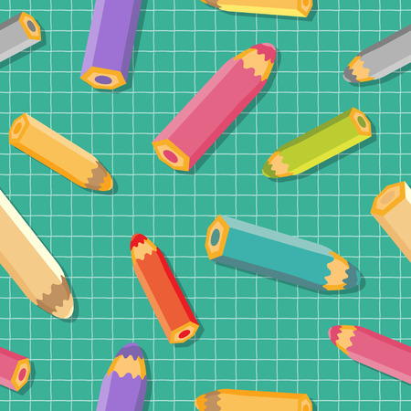 Seamless pattern with color pencils. School background. Vector illustration.