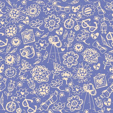 niños en bicicleta: Cosas de moda vintage transparente fondo. Corazón, flor, bicicleta, cámara, gafas, marco. Dibujado a mano ilustración vectorial.