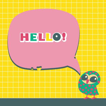 Cartoon speech bubbles with owls. Vector illustration. Vector