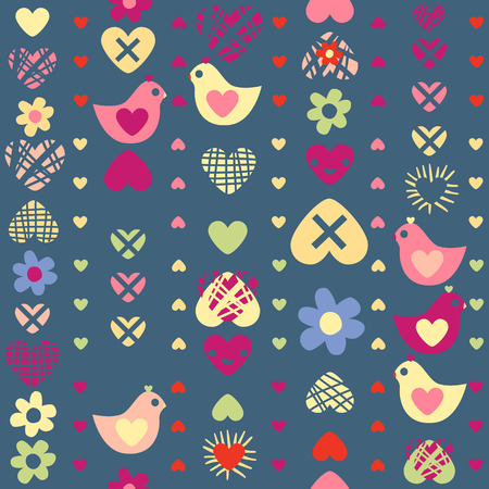 heart bird flower seamless pattern on dark background Vector