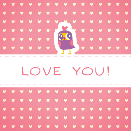Owls cute greeting card and hearts seamless background. Place for text. Hand drawn vector illustration. Template for design cartoon greeting card, Valentines day background Vector