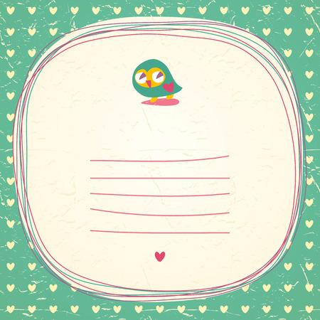 Vintage owls doodle frame and hearts seamless background. Hand drawn vector illustration. Vector
