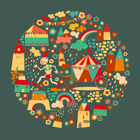 Kids circle dark background. Multicolored houses. Vector